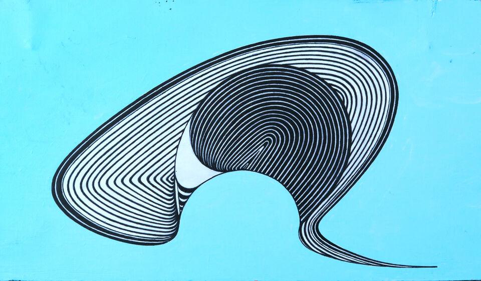 Blue wave, acrylic on board, 2018