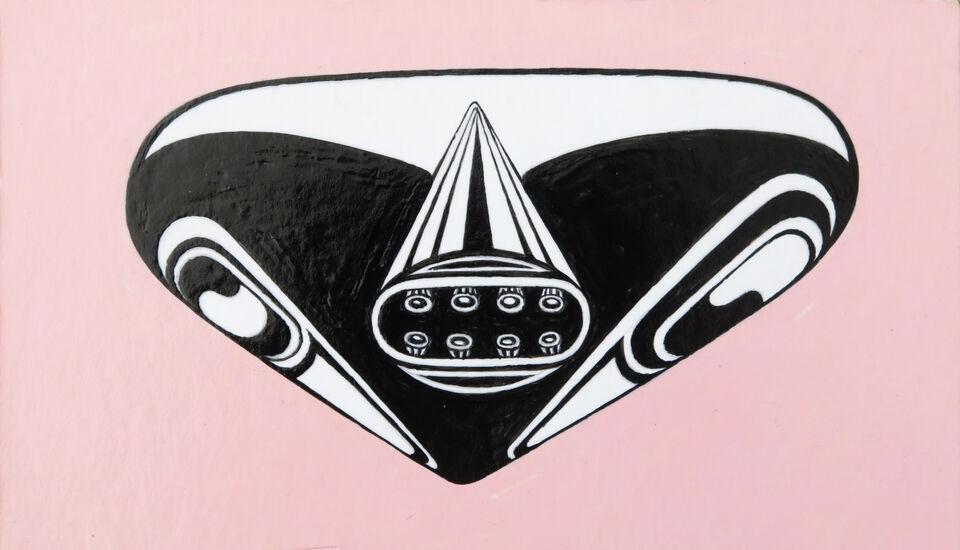 Mantis head series, pink, acrylic on card, 2019
